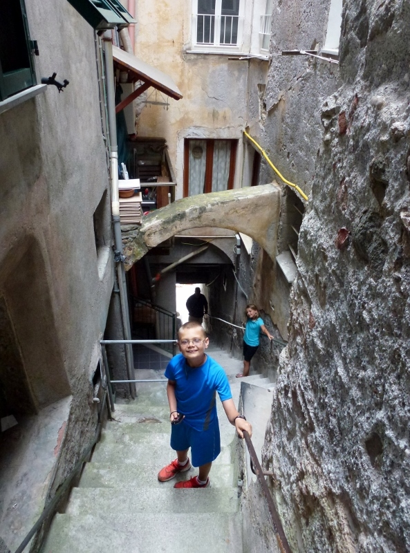 Riomaggiore - the steep stairs on our final decent to the sea.