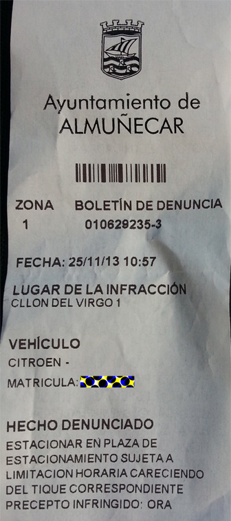 Parking Ticket in Spain