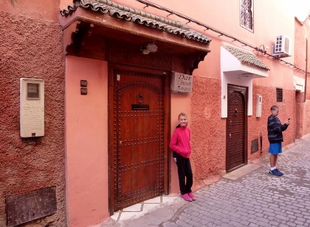 Marrakech Terracotta Medina Walls in front of our Riad Dar Limoun Amara