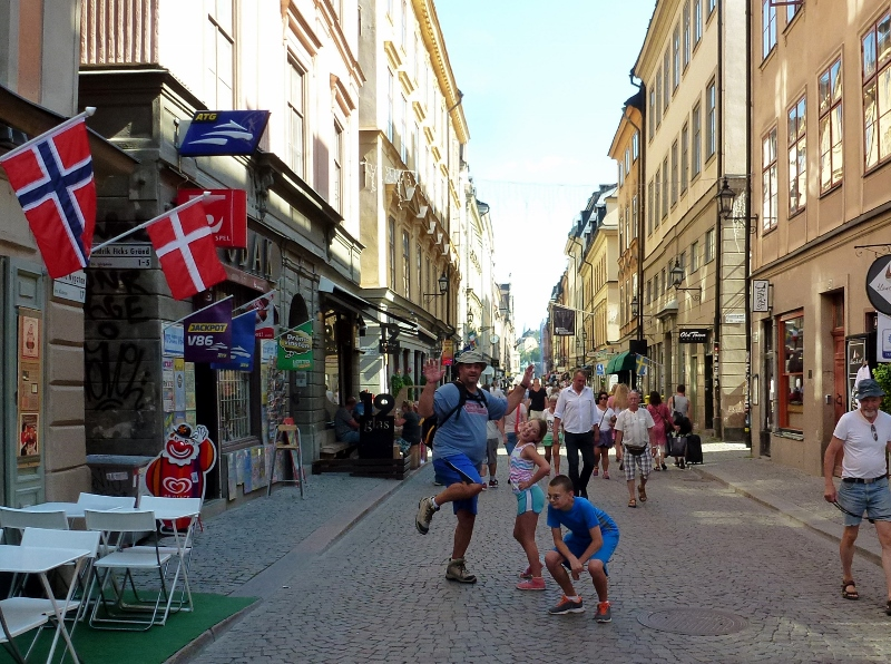 Wagoners Abroad jumping for joy in Stockholm Sweden