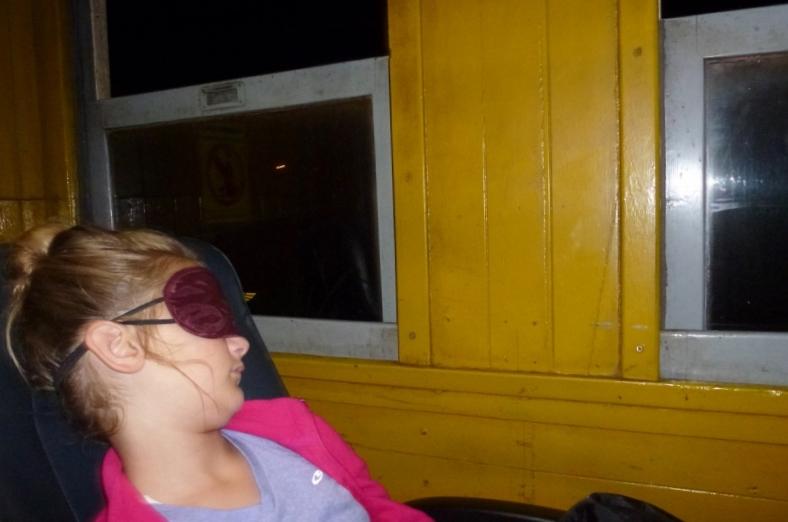 Train Bangkok to Chiang Mai - Anya sporting her eye mask