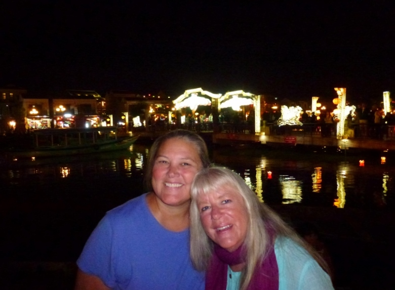 Heidi and Gma Bev with the Dragon Bridge in Hoi An in the background