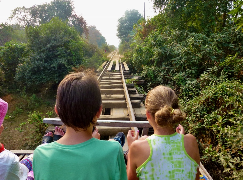 Bamboo Train Battambang Cambodia scary bridge