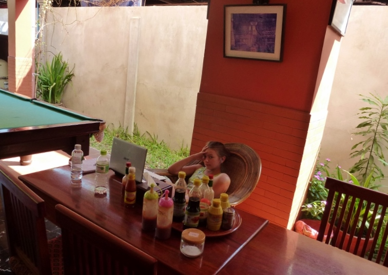 Siem Reap Jasmine Hotel Anya homeschool in the lobby