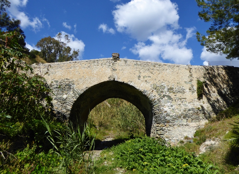 Almunecar Spain Roman Bridge of Cotobro from the riverbed