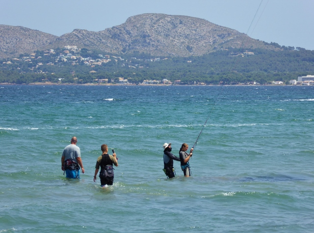 Anya learning to kitesurf in Mallorca. Just learning to control the kite no board.