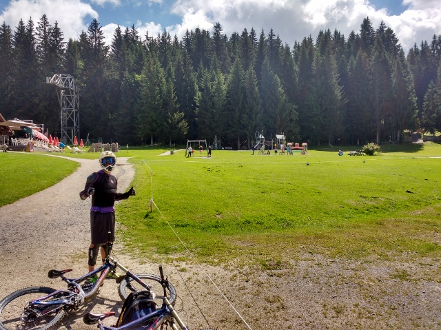 Pausing for a pic...mountain biking Morzine France