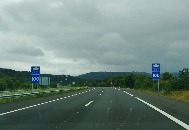 Driving through the Basque Country Spain - Cloud road signs
