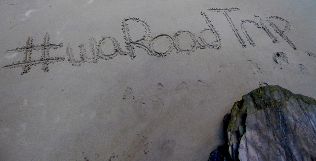 #waRoadTrip hashtag from the road trip at Playa Catedrales morning