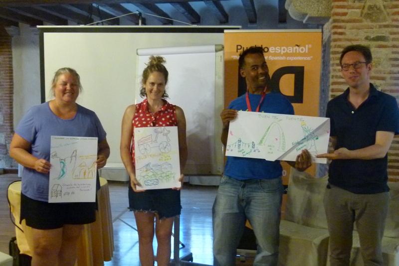Pueblo Espanol impromptu activity to do a tourist presentation on your home country
